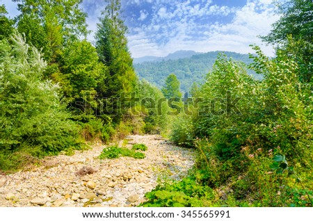 view of mountain river. beautiful summer mountains landscape - stock photo