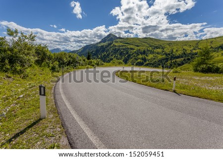 View of mountain road - Dolomites - stock photo