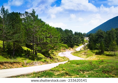 View of mountain with road. Pyrenees, Catalonia - stock photo