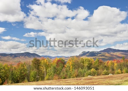 View of mountains in fall, Mount Blue State Park, Weld, Maine. - stock photo
