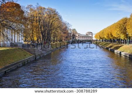 View of Moyka river and Mikhailovsky garden. Saint-Petersburg. Russia - stock photo