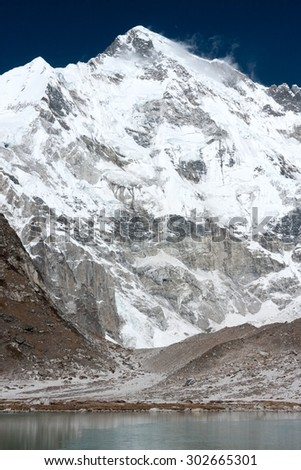 View of Mt. Cho Oyu from Gyazumba Tsho, Gokyo, Khumjung, Solu Khumbu, Nepal. - stock photo
