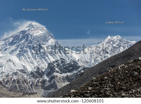 View of Mt. Everest (8848 m) and Lhotse (8516 m) from the fifth lake Gokyo - Nepal (named version)
