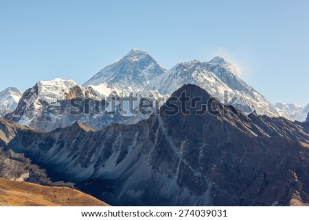 View of Mt. Everest (8848 m) and Lhotse (8516 m) from the Gokyo Ri - Gokyo region, Nepal, Himalayas - stock photo
