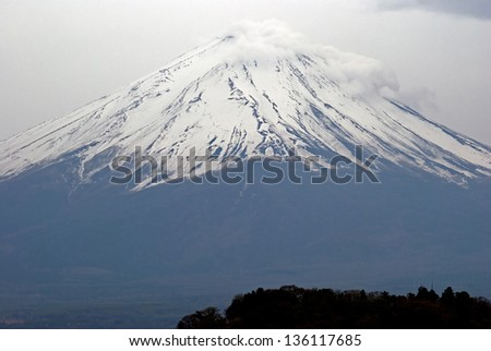 View of Mt. Fuji from Lake Kawaguchi, Fujikawaguchiko, Japan - stock photo