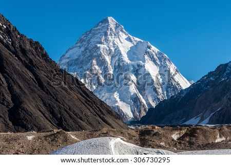 K2 Base Camp k2 base camp pakistan view of mount k2 with a trekker on the way to k2 ...
