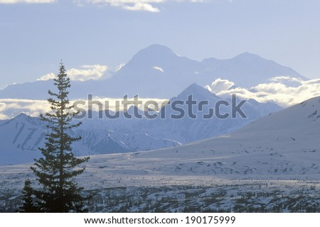 View of Mt. McKinley and Mt. Denali from George Park Highway, Route 3, Alaska - stock photo