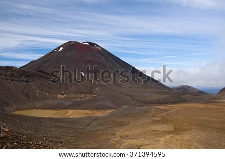 View of Mt Ngauruhoe on the Tongariro Crossing - stock photo