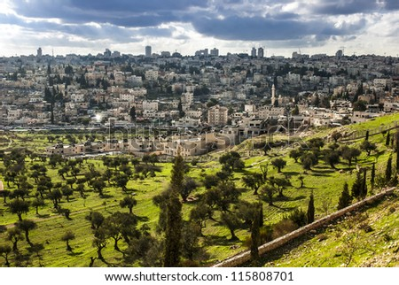 View of Mt. Olives, in the old city of Jerusalem, Israel - stock photo