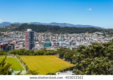 View of Mt Victoria over Wellington CBD, capital city of New Zealand. Modern architecture and Cricket Field in the foreground. - stock photo