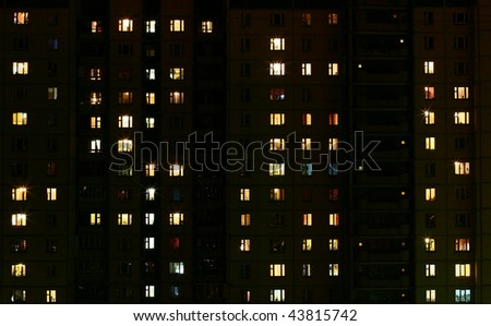 View of multifamily housing by night