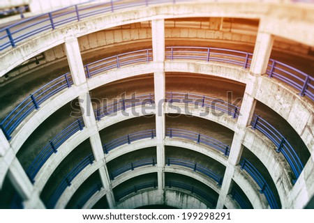 View of multilevel airport parking  - stock photo
