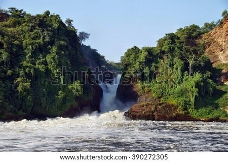 View of Murchison Falls on the Victoria Nile, Uganda - stock photo