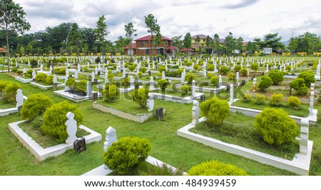 View of Muslim graveyard.