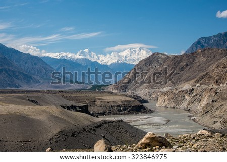 View of Nanga Parbat, Karakorum highway, Pakistan  - stock photo