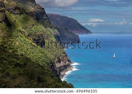 View of Napali coast from the kalalua trail,Kauai,Hawaii