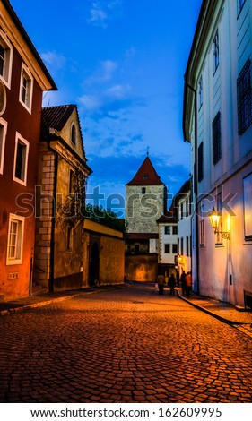 View of narrow Jirska Street between St. George Basilica and Convent for Noble Ladies in Prague Castle in Prague, Czech - stock photo