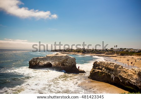View of Natural Bridges State Beach in Santa Cruz California