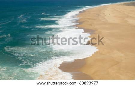 view of nazare north beach - stock photo