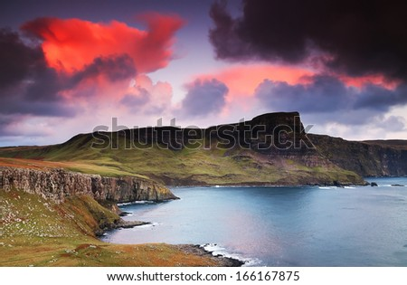 View of Neist Point and rocky ocean coastline, Highlands of Scotland, UK, Europe - stock photo