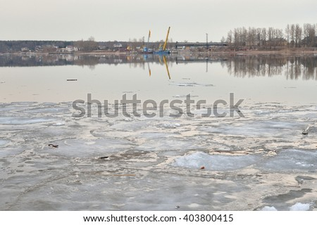 View of Neva River at cloud spring evening, Russia.