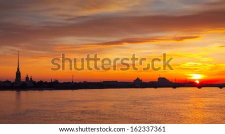 view of Neva river in dawn. Saint Petersburg, Russia - stock photo