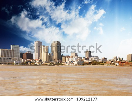 View of New Orleans from Mississippi River, U.S.A.