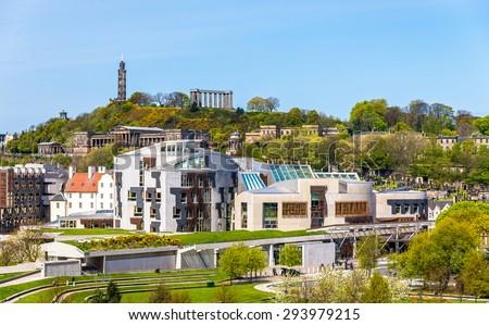 View of New Parliament House under Calton Hill - Edinburgh - stock photo