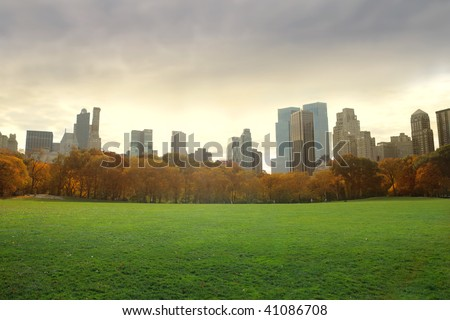 view of new york buildings from central park - stock photo