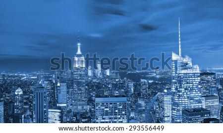 View of New York City at night - stock photo