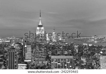 View of New York City at twilight. - stock photo