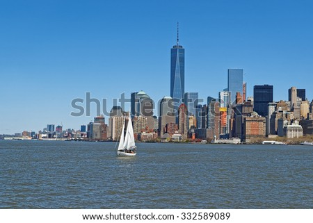 View of New York City Manhattan skyline over Hudson River. Manhattan is the central part of New York. It is one of the leading cultural and economic centers in the world - stock photo