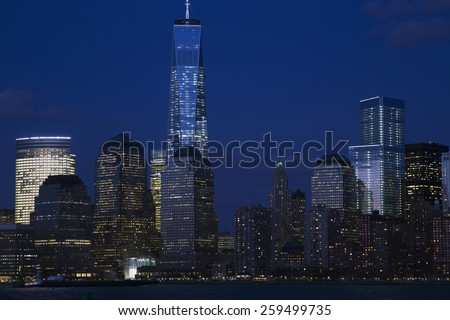 View of New York City Skyline at dusk featuring One World Trade Center (1WTC), Freedom Tower, New York City, New York, USA, 03.20.2014 - stock photo