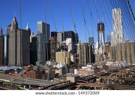 view of New York cityscape over Brooklyn bridge, Newyork, USA. - stock photo