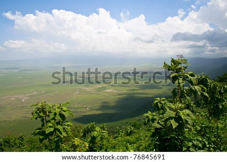 View of Ngorongoro crater in Tanzania, Africa.
