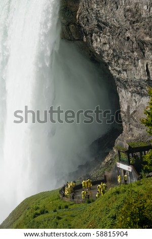 View of Niagara Falls from underneath - stock photo