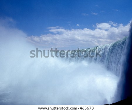 View of Niagra Falls from underneath the falls