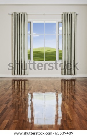 view of nice big window with piece of sky seen through - stock photo