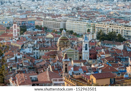 View of Nice city with the Cathedral - French Riviera - stock photo