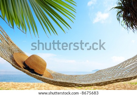 view of nice  hammock hanging between two palms with some hat in it - stock photo