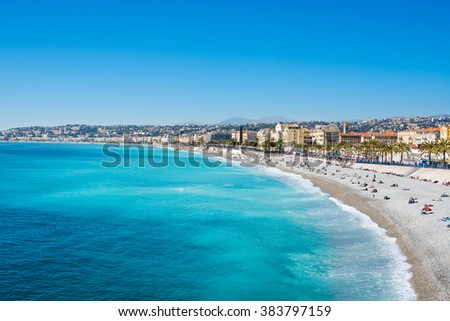 View of Nice, Mediterranean Sea, Cote d'Azur, France - stock photo