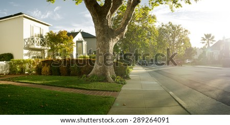 View of nice modern house in summer  environment - stock photo