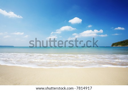 view of nice smooth tropical beach early in the morning - stock photo