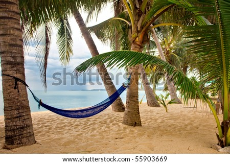 View of nice tropical empty sand beach with some palm and hammock in bad weather. Samui island. Thailand - stock photo