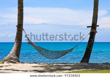View of nice tropical empty sand beach with some palm and hammock . Koh Kood island. Thailand - stock photo