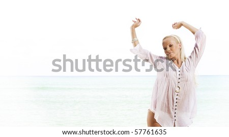 View of nice woman  having fun in summer environment - stock photo