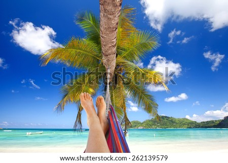 view of nice womans legs in tropical bliss, Woman in a hammock on a tropical beach - stock photo