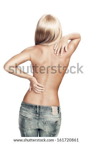 View of nice young wonam back on white back - stock photo