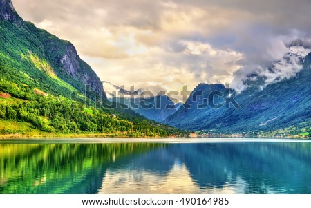 View of Nordfjorden fjord near Loen in Norway