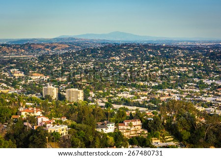 View of Northeast Los Angeles from Griffith Observatory, in Los Angeles, California. - stock photo